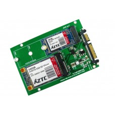 SATA III to M.2/mSATA SSD Dual Port Adapter