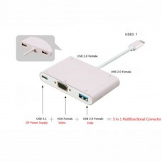 Type C USB 3.1 to VGA/USB 2.0/3.0 Charger & Hub 5in1 Converter