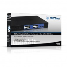 TRENDnet 16-port Gigabit Web Smart Switch w/ 2 Mini-GBIC Slots